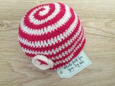 """Crochet Baby Candy Cane Hat.  """"This is the cutest Twist/Candy Swirl Hat. Great as a photo prop or to keep those little heads warm in the winter!"""