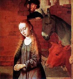 Gerard David,The Nativity (detail) 1490, Museum of Fine Arts, Budapest, Hungary, (Painting, Panel, 77 x 56cm)