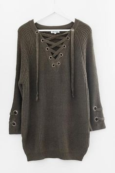 Olive Lace-Up Sweater Lace Tunic c2a04fc4f