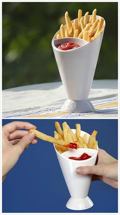 Makes french fries fun. Dipping container much easier to dip your fries.