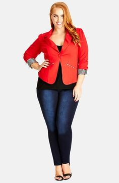 Free shipping and returns on City Chic Zip Pocket Jacket (Plus Size) at Nordstrom.com. A shrunken blazer cut from a supple stretch knit stands out in a vibrant choice of colors accented with a striped lining exposed at the rolled cuffs. The contemporary zip-pocket style features a back tab cinching in the waist.