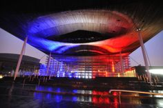 The Senedd in Cardiff Bay lit up in red, white and blue to remember the Paris terror attacks