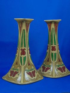 "Porcelain Limousine (PL) Limoges Arts & Crafts Candlesticks (Signed ""Nola from Winnie Xmas 1915"")"