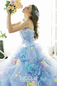 blue floral ballgown Wedding Dress Patterns, Blue Wedding Dresses, Wedding Gowns, Fairytale Dress, Fairy Dress, Fantasy Gowns, Gown Pattern, Flower Dresses, Pretty Dresses