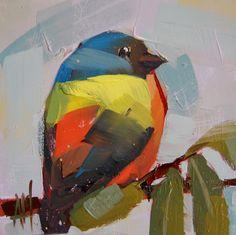 Painted Bunting no. 19 original bird oil painting by Angela Moulton #prattcreekart #paintedbunting #art