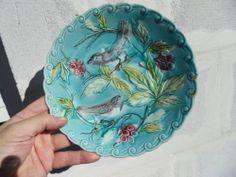 Vintage plate assiette barbotine d' ONNAING décor oiseaux birds art deco
