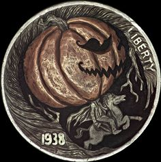 "Hobo Nickel "" Sleepy Hollow "" BHMM 1938 Buffalo by  Paolo "" MrThe "" Curcio OOAK"