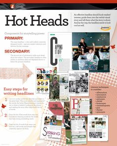 Hammers, Wickets, Kickers and Headlines OH MY! Headlines employ visual and verbal skills to draw a reader into the content. Don't forget to teach your staff the value of headlines. Also a SL spread. Teaching Yearbook, Yearbook Class, Yearbook Design, Teaching Schools, High School Yearbook, Yearbook Ideas, Yearbook Spreads, Copywriting, Journalism