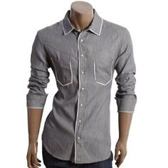 A grey collard shirt