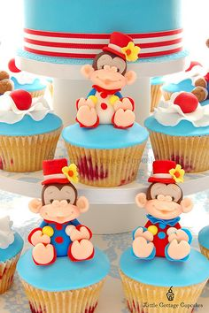 Circus Clown Monkeys Cupcakes