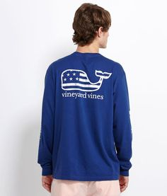 Mens T-Shirts: Long-Sleeve Flag Whale Graphic T-Shirt – Vineyard Vines