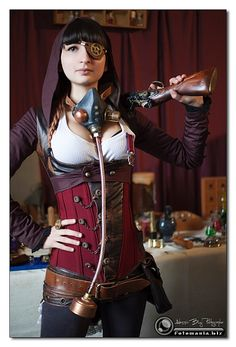 I like the corset over jeans with the low slung belts...minus all the other stuff. lol