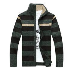 2016 new winter printed high quality zipper striped Cardigan men,faishion casual sweater men