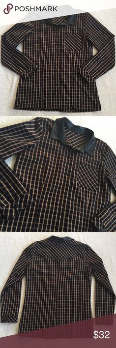 Anthropologie Sanctuary Button Down Top Perfect for fall and winter! This plaid top is a thick material with a faux leather collar. Great condition other than a couple of scratches on the buttons (hardly noticeable). Size Medium. Anthropologie Tops