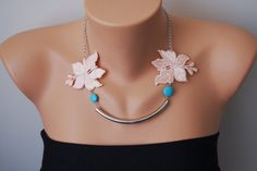 Turquoise and Blush color Necklace/ Lace Necklace/ Silver Bar Necklace/ Arc Necklace/ AFlo... $32