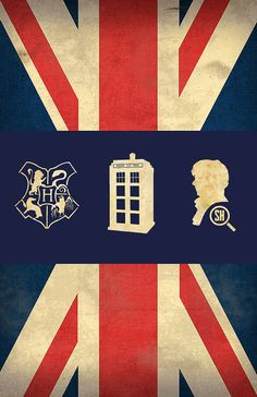 Oh. My. Word. Someone please buy this for me!!  British Fandom Poster  - 11 x 17 Glossy Cardstock - Unisex teenage gift - Doctor Who Harry Potter Sherlock Union Jack Design