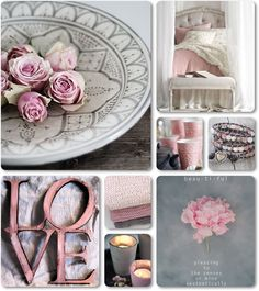 ❧ Collages de photos ❧ moodboard grey and pink by AT