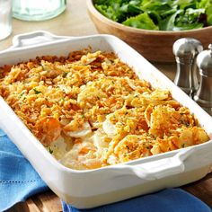 Dijon Scalloped Potatoes Recipe- Recipes My family loves this creamy and colorful recipe for cheesy potatoes. It has both sweet and white potatoes, lots of rich, buttery flavor and a pretty, golden-crumb topping. Sweet Potato Dishes, Scalloped Potato Recipes, Sweet Potato Recipes, Meat And Potatoes Recipes, Cheesy Potatoes, White Potatoes, Mashed Potatoes, Easter Recipes, Thanksgiving Recipes