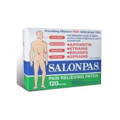 Salonpas Pain Relieving Patch - 120 Patches by Salonpas. $11.19. For temporary relief of minor aches & pains of muscles and joints associated with simple backache, arthritis, strains, bruises and sprains.