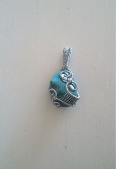 Polished Turquoise Wire wrapped pendant by OtagoJewels on Etsy