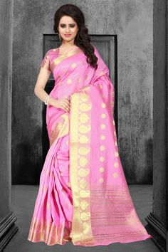 Pink Tussar Silk Saree With Blouse 67595