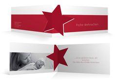 Weihnachtskarte - Weihnachtsstern - Klappkarte DIN lang - mit Ihrem Foto und Text individuell gestaltet von Familienmomente