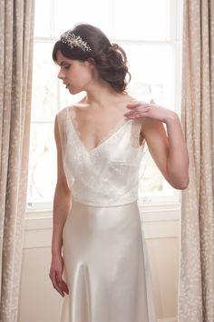 Elegant Couture Silk Satin Bias-Cut Wedding by LisaWagnerDesigns