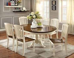 7 pc Harrisburg collection country style oval / round two tone vintage white and dark oak finish wood dining table set with pedestal base