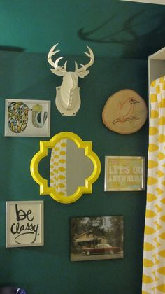 love the painted yellow mirror Interior Ideas, Interior Inspiration, Yellow Mirrors, French Mirror, Yellow Interior, Gallery Walls, Our Kids, Color Combos, Ms