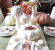 View these Fall Dining Room Ideas Creating Beautiful And Cozy Interior Decor and other seasonal and holiday décor ideas. Fall Table Settings, Thanksgiving Table Settings, Thanksgiving Ideas, Thanksgiving Blessings, White Pumpkin Decor, White Pumpkins, Faux Pumpkins, Pumpkin Decorating, Fall Decorating