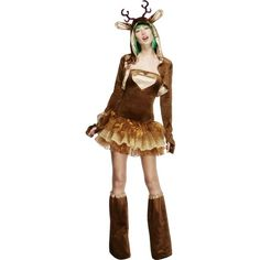 Look To Hot To Trot This Christmas In Our Reindeer Costume. The Fever Reindeer Costume Includes Tutu Dress With Detachable Clear Straps, Jacket And Boot Covers. Wizard Costume, Costume Dress, Sexy Costumes For Women, Unique Costumes, Ladies Costumes, Adult Costumes, Christmas Costumes, Halloween Costumes, Adult Halloween