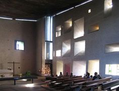 Modern Church, Immaculate Conception, Le Corbusier, Interior Design Studio, No 9, Lamp Light, Modern Architecture, Building, Modernism