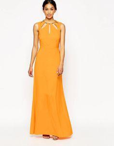 Image 1 ofASOS Keyhole Multi Gold Bar Maxi Dress
