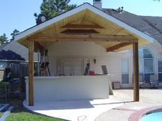 covered porch outdoor kitchen   Custom Patio Cover Contractor in Houston designing beautiful shade ...