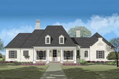 Plan 4 Bedroom House Plan With Summer Kitchen Southern House Plans, Southern Homes, Country House Plans, New House Plans, Coastal Homes, 4 Bedroom House Plans, Flex Room, Garden Tub, Roof Plan
