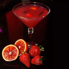 Ingredients2 oz. Hendricks gin1 oz. blood orange juiceDash simple syrup, 2 strawberries4 slices of cucumberPreparationMuddle fruit with simple syrup, add gin and blood orange juice. Shake and strain into a martini glass. Garnish with strawberry, cucumber spiral and orange peel hearts.Source: Cosmopolitan