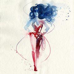 Simple Watercolor Superheroes Wonder Woman.  Créations de l'illustratrice française Blule, basée en Australie, qui a réalisé de superbes aquarelles en hommage aux super héros