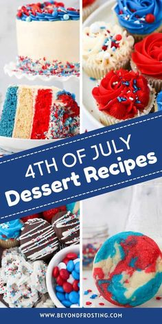 Celebrate the 4th of July with easy homemade desserts. Everything from Red, White and Blue Patriotic desserts to classic cookies, brownies and pies. There's a dessert here for everyone. Easy Homemade Desserts, Bbq Desserts, Unique Desserts, Fun Easy Recipes, Homemade Cookies, Party Recipes, Holiday Recipes, Patriotic Desserts, 4th Of July Desserts