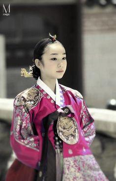 Figure skater Kim Yuna wearing the traditional Korean dress, Hanbok