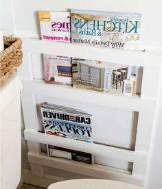 porte revue palette bois coloris blanc magazines