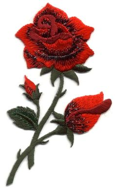 Red Rose - Gardening -  Flower - Rose - Embroidered Iron On Applique Patch #Unbranded http://stores.ebay.com/Always-Blessed-Appliques-and-More