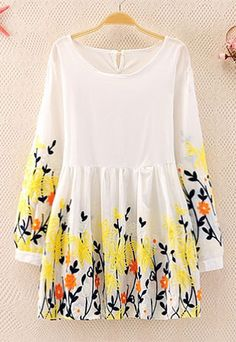 """Style: Folk Style/ Elegant  Heat:  Floral Embroidered   Material: Cotton  Size: One Size: Length: 72CM(28.35"""" ) Shoulder: 43CM(16.93"""" ) Bust: 86CM(33.86"""" ) Sleeve Length: 52CM(20.47"""" )   Color: Yellow/Pink  It is a best choice to wear this dress to have gathering with friends in the g..."""