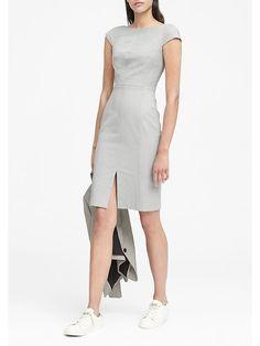 990c4532b1 Banana Republic Womens Heathered Bi-Stretch V-Back Sheath Dress Light Gray
