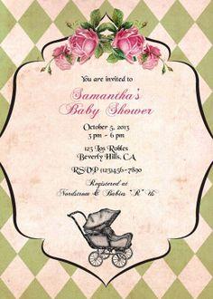French vintage pram Birthday invitation baby by CupidDesigns, $20.00