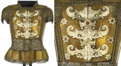Philippine (Moro, Mindanao) armor, 19th century, thirty plates attached together with large butted mail rings, arms and lower mid-section with smaller size ringed mail, front main breastplates with applied engraved silver decorative panels in floral shapes and three quatrefoils with swirling terminals along join between two breastplates, two matching latches with protruding studs to bind breastplates together, Breastplates 11 x 11¾in. (28 x 30cm.); Overall size 25½ x 19½in. (64.8 x 49.5cm.)