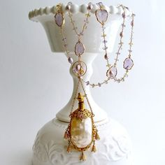 #5 Guinevere III Necklace - Ametrine Amethyst Mother of Pearl Scent Bottle