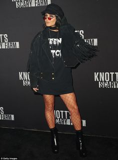 Edgy: Knott's Scary Farm kicked off its 2017 season and Vanessa Hudgens made sure to dress appropriately; pictured on Friday at the theme park