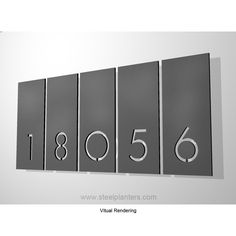 5 Number Aligned Address Plaques Door Numbers, House Numbers, House Number Plates, Environmental Graphic Design, Address Plaque, Signage Design, Entry Foyer, Porch Decorating, Exterior Design