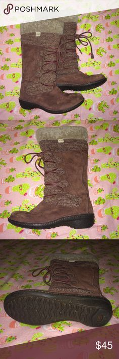 Burgundy UGG Australia Laceup Boots So warm! These lace-up boots are lined with fur and have a supporting sole. The knit design is a nice touch! UGG Shoes Lace Up Boots