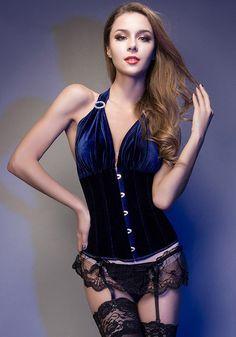 Bustier et Corset-Bleu Fonce Manches Licol Corset Girly De